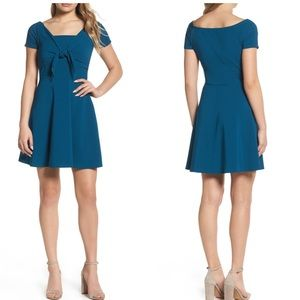 Nsr tie front crepe fit flare mini dress NWT